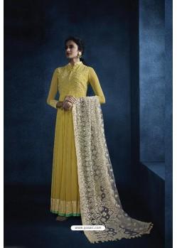 Lemon Heavy Embroidered Georgette Designer Anarkali Suit