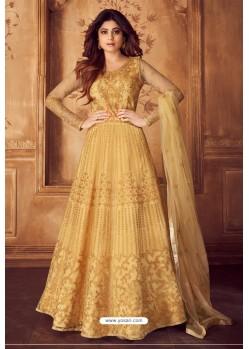 Mustard Designer Heavy Embroidered Butterfly Net Anarkali Suit