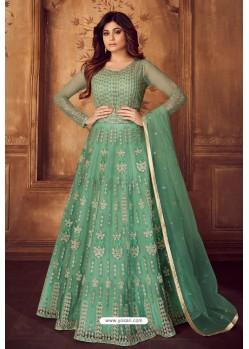 Jade Green Designer Heavy Embroidered Butterfly Net Anarkali Suit