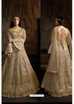 Gold Designer Heavy Embroidered Net Anarkali Suit