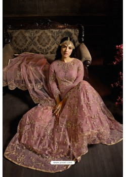 Old Rose Designer Heavy Embroidered Net Anarkali Suit