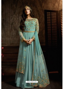 Sky Blue Designer Heavy Embroidered Net Anarkali Suit