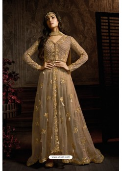 Camel Designer Heavy Embroidered Net Anarkali Suit