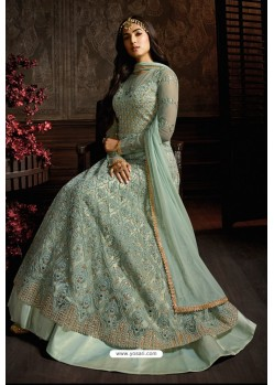 Aqua Grey Designer Heavy Embroidered Net Anarkali Suit