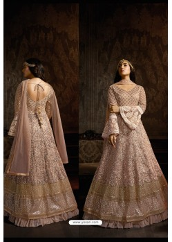 Dusty Pink Designer Heavy Embroidered Net Anarkali Suit