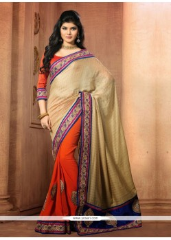 Orange And Beige Chiffon Designer Saree