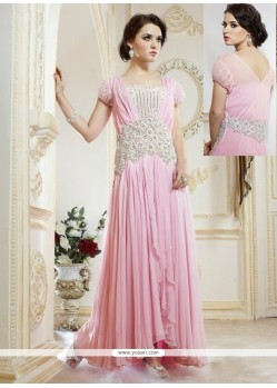 Lovely Pink Georgette Designer Gown