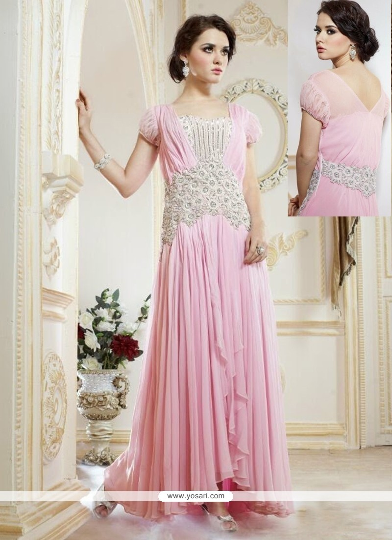 Lovely Pink Georgette Designer Gown