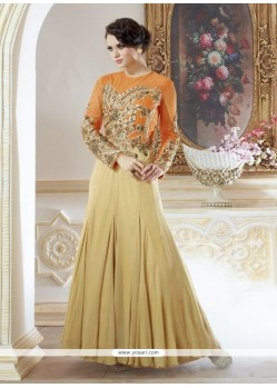 Awesome Cream Georgette Designer Gown