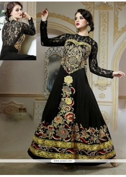 Shop Online Charming Black Embroidery Work Designer Gown
