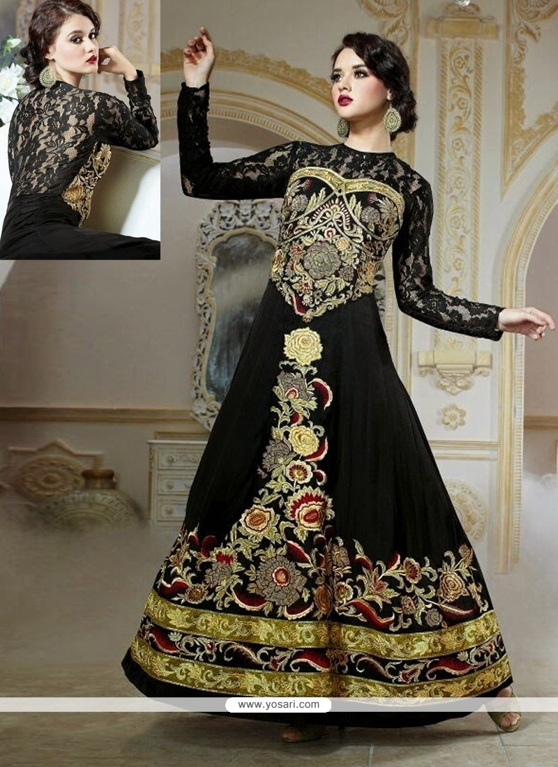 Charming Black Embroidery Work Designer Gown