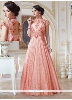Amazing Peach Georgette Designer Gown