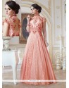 Amazing Peach Georgette Designer Gown