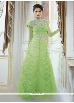 Lovely Green Georgette Designer Gown