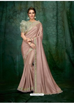 Old Rose Satin Georgette Embroidered Party Wear Saree
