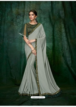 Light Grey Satin Silk Embroidered Party Wear Saree