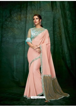 Peach Silk Chiffon Embroidered Party Wear Saree