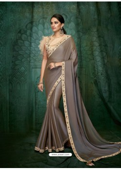 Taupe Dual Tone Silk Georgette Embroidered Party Wear Saree
