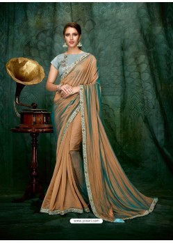Camel Dual Tone Silk Georgette Embroidered Party Wear Saree
