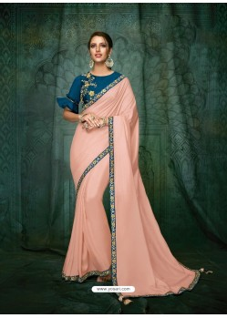 Baby Pink Satin Silk Embroidered Party Wear Saree