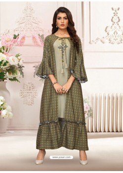 Grey And Mehendi Rayon Embroidered Readymade Kurti