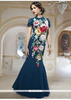 Navy Blue Georgette Designer Gown