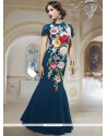 Navy Blue Georgette Designer Gown