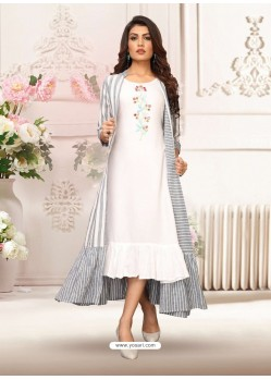 White And Grey Rayon Embroidered Readymade Kurti