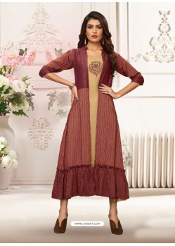 Beige And Maroon Rayon Embroidered Readymade Kurti