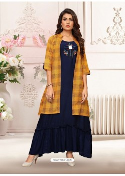 Navy And Mustard Rayon Embroidered Readymade Kurti