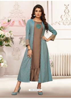 Light Brown And Sky Blue Rayon Embroidered Readymade Kurti