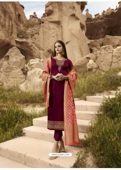 Maroon Satin Georgette Embroidered Straight Suit