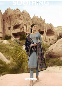 Grey Satin Georgette Embroidered Straight Suit