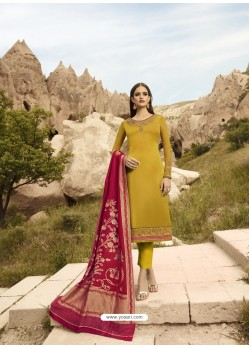 Yellow Satin Georgette Embroidered Straight Suit