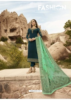 Teal Satin Georgette Embroidered Straight Suit
