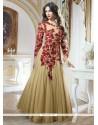 Dazzling Beige Georgette Designer Gown