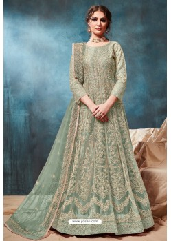 Grayish Green Net Embroidered Party Wear Anarkali Suit