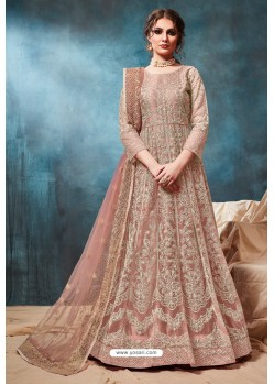 Light Pink Net Embroidered Party Wear Anarkali Suit