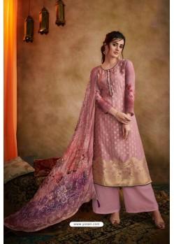 Pink Jacquard Designer Palazzo Suit