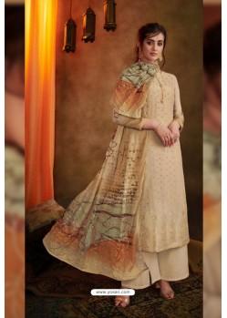 Cream Jacquard Designer Palazzo Suit