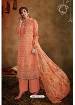 Orange Jacquard Designer Palazzo Suit
