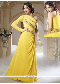 Splendid Yellow Georgette Designer Gown