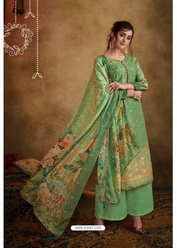 Green Jacquard Designer Palazzo Suit