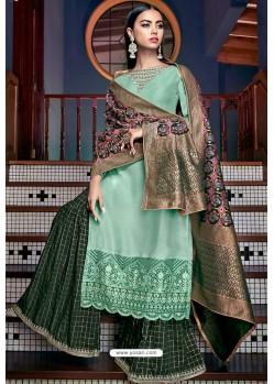Aqua Mint Tusser Silk Designer Palazzo Suit