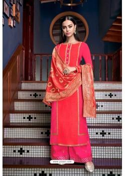 Rani And Orange Olive Silk Designer Palazzo Suit