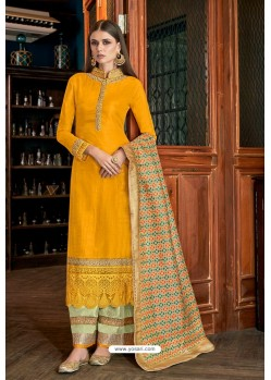 Yellow Olive Silk Designer Palazzo Suit