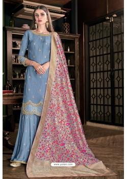 Blue Tulip Silk Designer Palazzo Suit