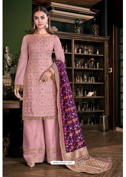 Light Pink Tusser Satin Designer Palazzo Suit
