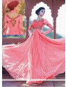 Awesome Pink Net Designer Gown