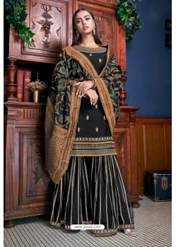 Black Banglori Silk Designer Palazzo Suit
